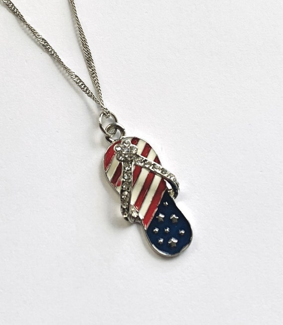 Clearance USA Flag Flip Flop Necklace on 18 Inch .925 Sterling Silver Chain