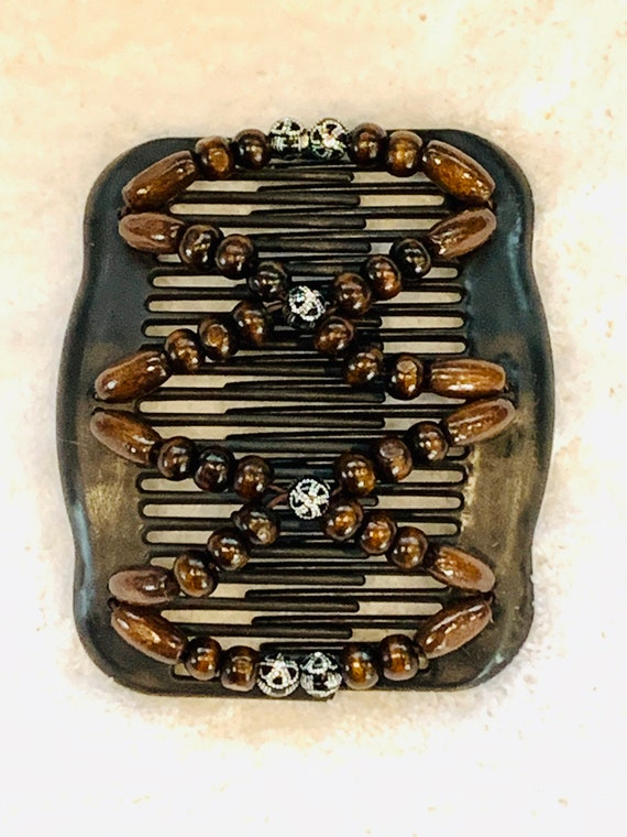 Beaded Double Hair Comb Brown w/silver accents, Elastic Hair Clip, Strong Hold Hair Accessory