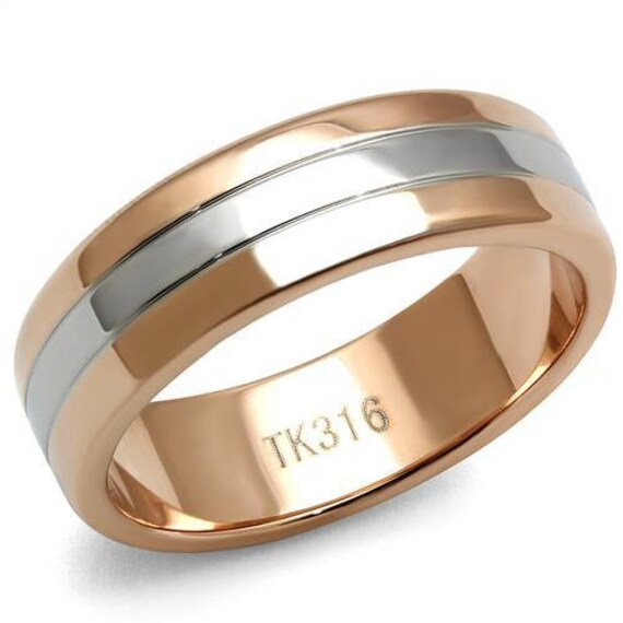 Stainless Steel Ring Two-Tone IP Rose Gold Men