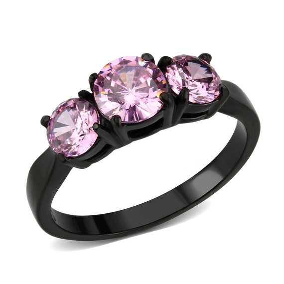 IP Black Stainless Steel Ring with AAA Grade CZ in Rose