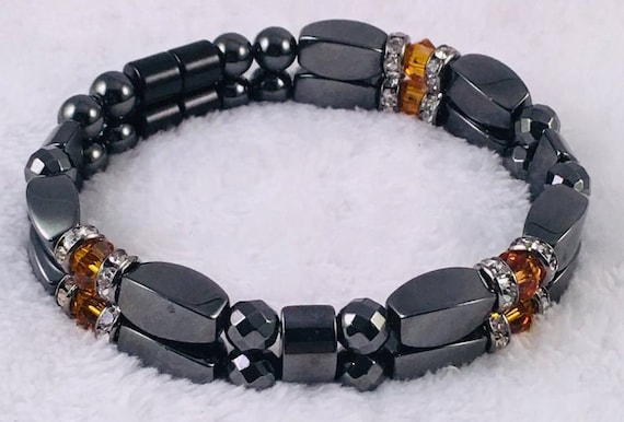 Strong High Power Magnetic Hematite Bracelet, November Swarovski Crystal Topaz Birthstone Bracelet