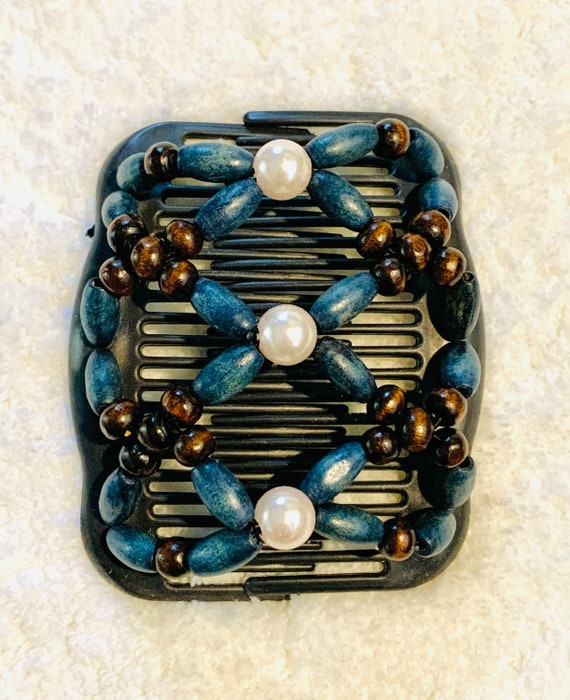 Beaded Double Hair Comb Teal & White, Elastic Hair Clip, Strong Hold Hair Accessory