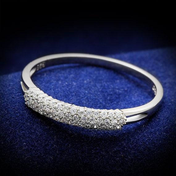 925 Sterling Silver Ring Rhodium Women AAA Grade CZ
