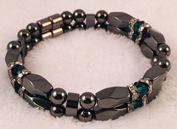 Strong High Power Magnetic Hematite Bracelet, May Swarovski Crystal Emerald Birthstone Bracelet