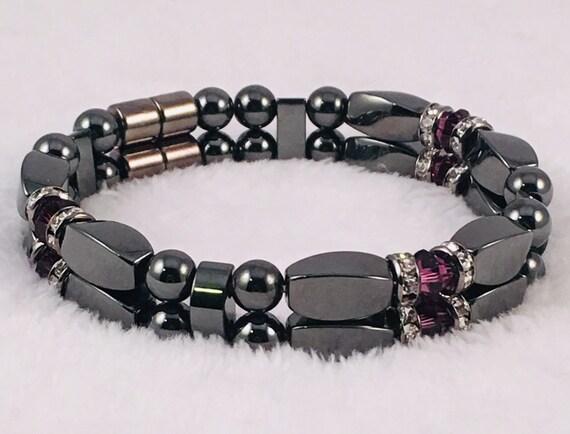 February Swarovski Amethyst Birthstone Bracelet, High Power Magnetic Hematite Therapy Bracelet