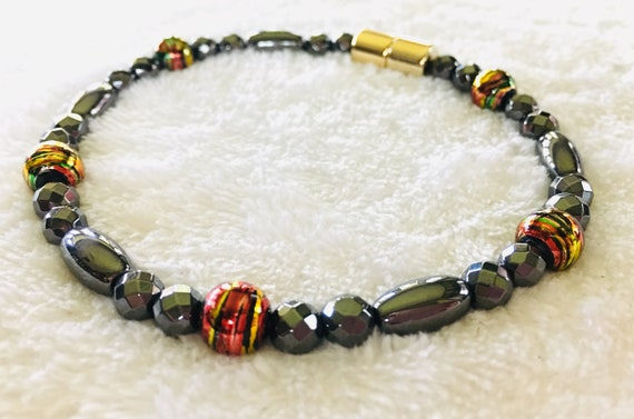 Red Gold High Power Magnetic Hematite Therapy Anklet or Bracelet