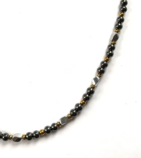 Strong High Power Gold, Silver, & Black Magnetic Hematite Therapy Necklace, Bracelet, Anklet