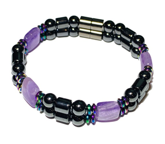 Amethyst Strong Magnetic Hematite Therapy Bracelet