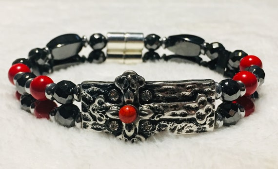 Antique Cross Magnetic Hematite Therapy Bracelet in Red or Turquoise, High Power Magnetic