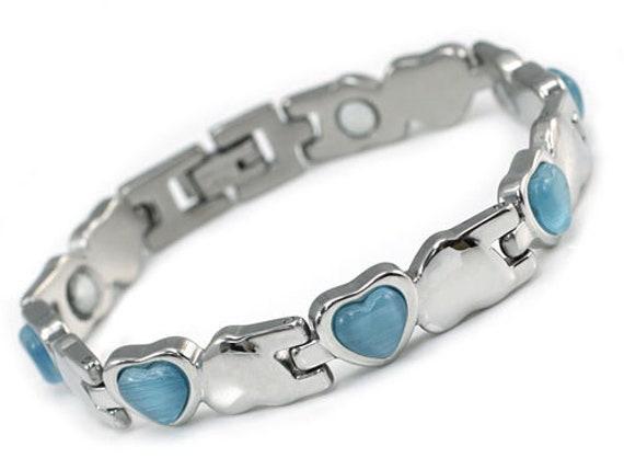 Women Stainless Steel Magnetic Health Blue Heart Cat Eye Stone Bracelet