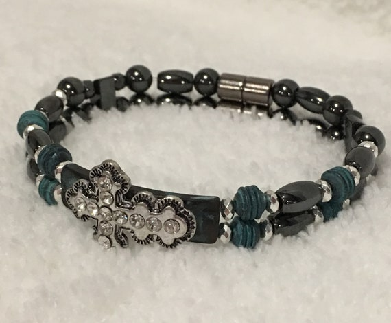 Silver Antique Cross Magnetic Hematite Therapy Bracelet, High Power Magnetic