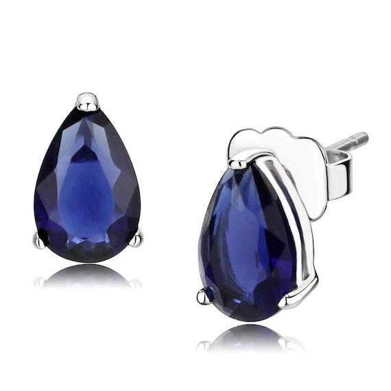 925 Sterling Silver Earrings Rhodium Women AAA Grade CZ Clear