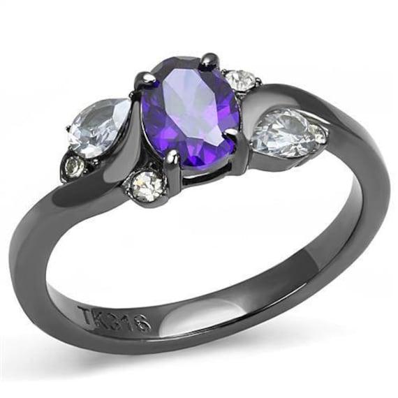 Stainless Steel Ring IP Light Black Women AAA Grade CZ Tanzanite