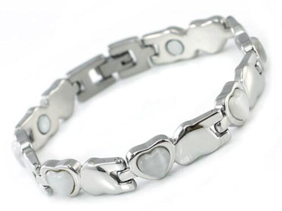 Women Stainless Steel Magnetic Health White Heart Cat Eye Stone Bracelet