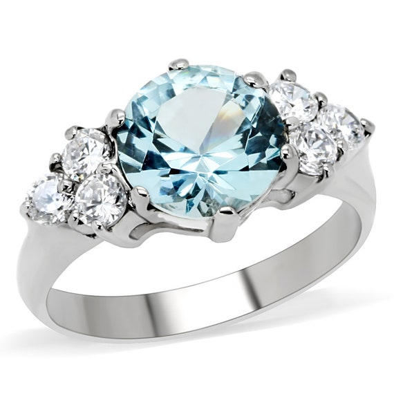 Stainless Steel Ring High polished (no plating) Women Synthetic London Blue