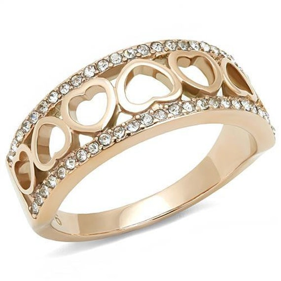Stainless Steel Ring IP Rose Gold(Ion Plating) Women Top Grade Crystal Clear