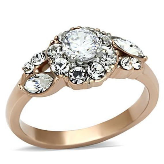 Stainless Steel Ring Two-Tone IP Rose Gold Women AAA Grade CZ Clear