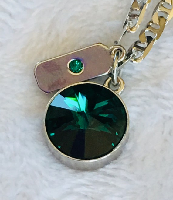 May Emerald Swarovski Birthstone Necklace with Sterling Silver Filled Chain, Lifetime Guarantee on Chain