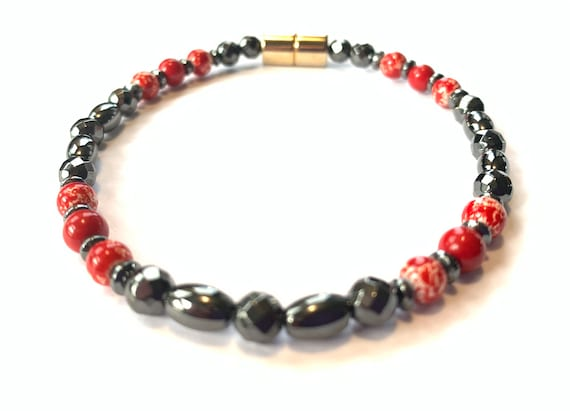 Magnetic Hematite Therapy Necklace Anklet or Bracelet Red Marble High Power Strong