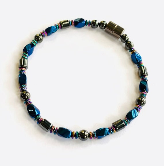 Blue High Power Strong Magnetic Hematite Therapy Necklace Anklet or Bracelet