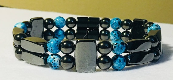 Black Turquoise High Power Magnetic Hematite Therapy Bracelet