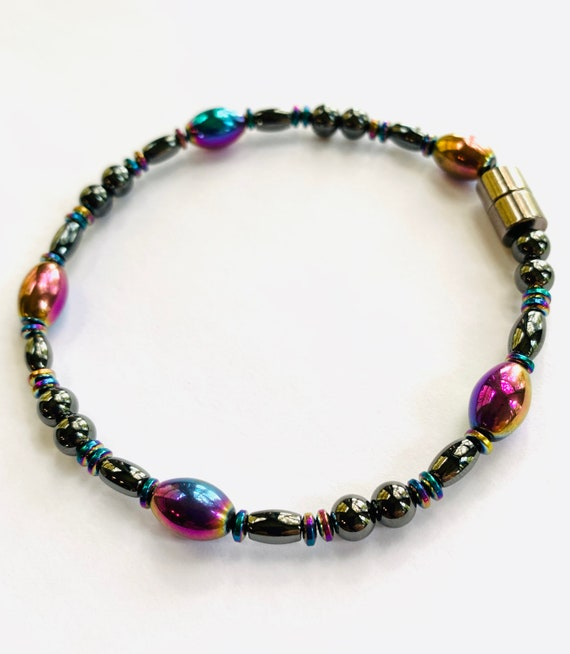 Rainbow High Power Strong Magnetic Hematite Therapy Anklet or Bracelet
