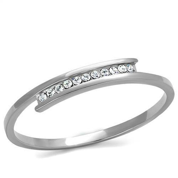Stainless Steel Bangle High polished (no plating) Women Top Grade Crystal Clear