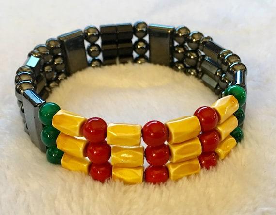 Vietnam War Veteran, Vietnam Ribbon, Magnetic Hematite Therapy Bracelet, High Power Magnetic