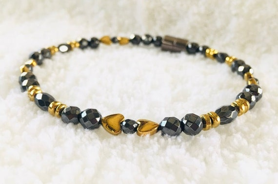 Gold Heart Strong High Power Magnetic Hematite Therapy Anklet, Bracelet, Necklace
