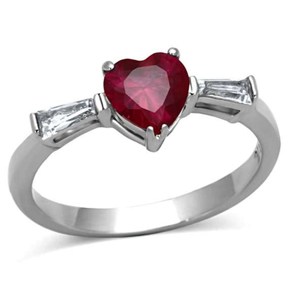 High polished (no plating) Stainless Steel Ring with AAA Grade CZ in Ruby