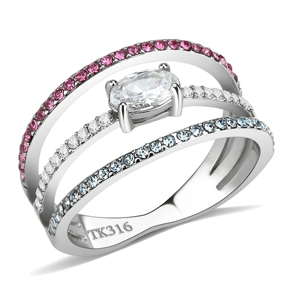 Stainless Steel Ring High polished (no plating) Women AAA Grade CZ Multi Color