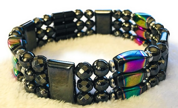 Magnetic Hematite Therapy Bracelet, Rainbow Hematite Bracelet, High Power Magnetic
