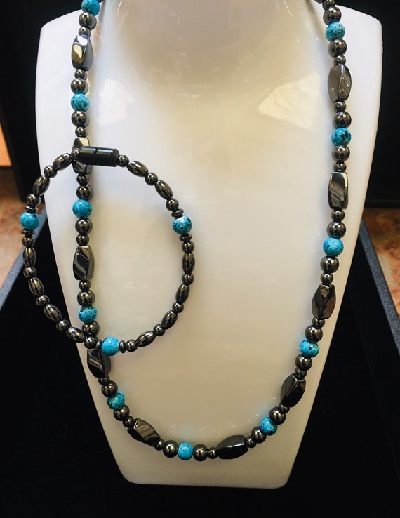 Turquoise and Black Magnetic Hematite Necklace and Bracelet Set High Power Magnetic