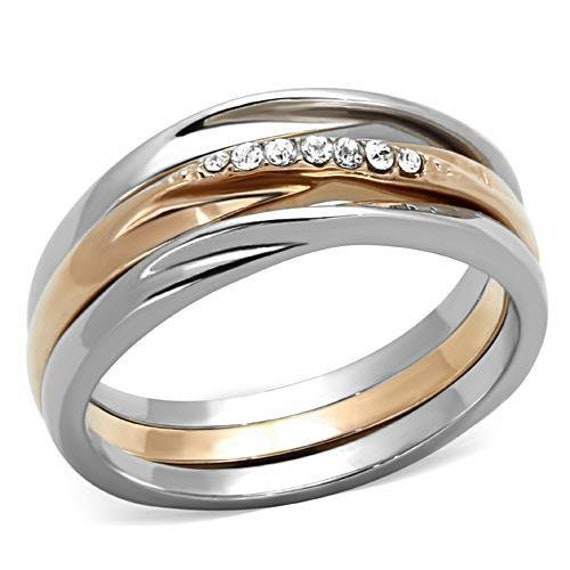 Stainless Steel Ring Two-Tone IP Rose Gold Women Top Grade Crystal Clear