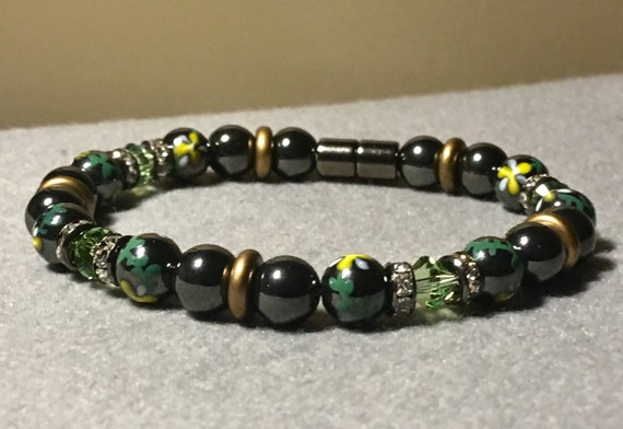 Magnetic Hematite Bracelet, Anklet, Necklace Hand painted floral beads with Swarovski crystals, high power magnetic