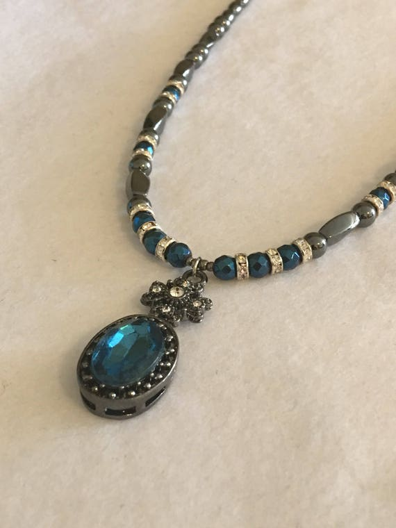 Blue Pendant High Power Magnetic Hematite Necklace