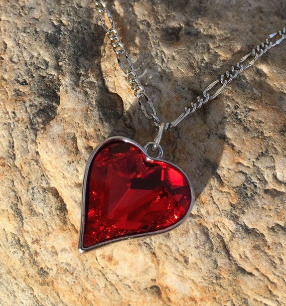 Swarovski Siam Red Heart Pendant on 3MM Sterling Silver Filled Figaro Chain, Lifetime Guarantee on chain