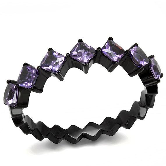 Stainless Steel Ring IP Black(Ion Plating) Women AAA Grade CZ Amethyst