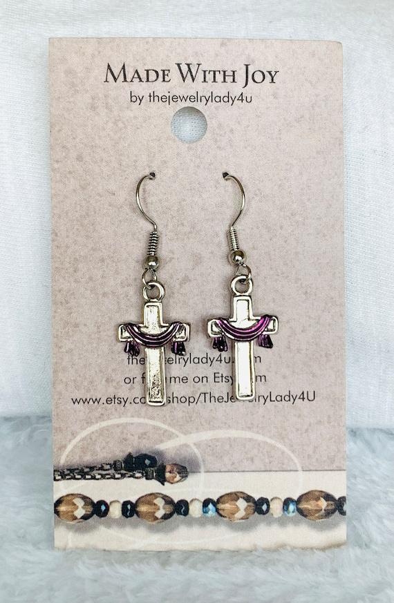 Clearance Purple Easter Cross Dangle Earrings Hypoallergenic