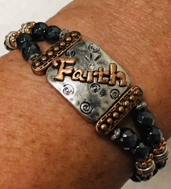 Copper and Silver Faith Bracelet Magnetic Hematite Therapy Bracelet High Power Magnetic