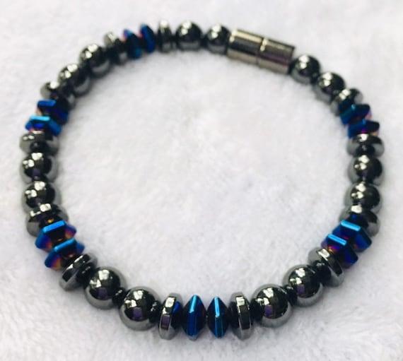 Magnetic Hematite Therapy Bracelet, Blue Accents,  Unisex Magnetic Bracelet