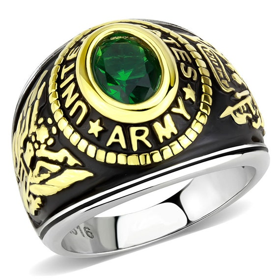 Army Stainless Steel Ring Two-Tone IP Gold (Ion Plating) Unisex Synthetic Montana