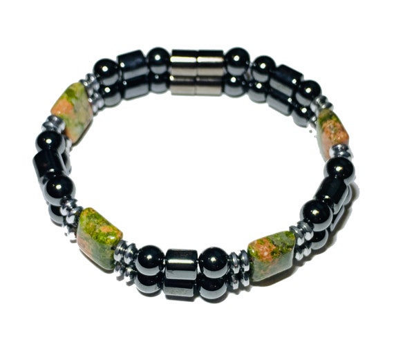 Unakite Jasper Strong Magnetic Hematite Therapy Bracelet