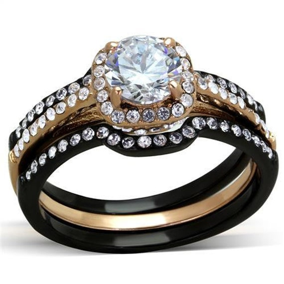 CLEARANCEstainless steel ring rose gold+ IP black (Ion Plating) women AAA Grade CZ Clear