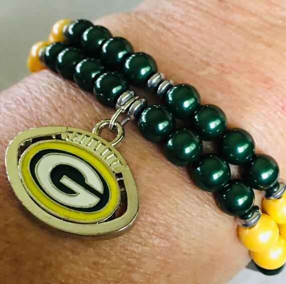 Green Bay Packers Magnetic Hematite Therapy Bracelet, NFL Bracelet