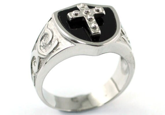 Religion Two Tone Cross Magnetic Health Stainless Steel Mens Ring