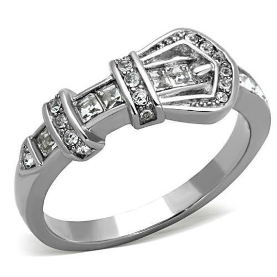 High polished (no plating) Silver Buckle Stainless Steel Ring with Top Grade Crystal in Clear