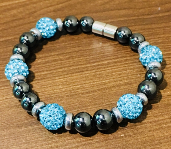 Magnetic Hematite Therapy Bracelet, Shambala Bracelet Anklet, High Power Magnetic