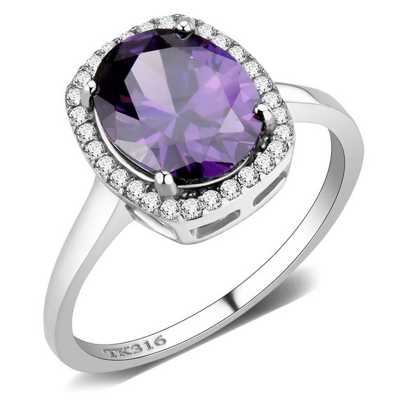 Stainless Steel Ring High polished (no plating) Women AAA Grade CZ Amethyst
