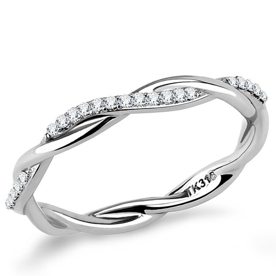 Wholesale Stainless Steel Ring High polished (no plating) Women AAA Grade CZ Clear